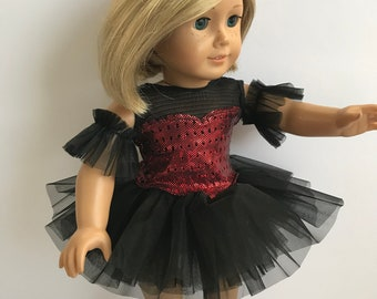 "Black and Red 4 Piece Ballet Costume - Sized For An 18"" American Girl Sized Doll"