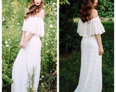 Boho Wedding Dress, Wedding Dress, Lace Wedding Dress, Ruffle Wedding Dress, Off Shoulder Wedding Dress, Scalloped Lace Dress, Crochet Lace