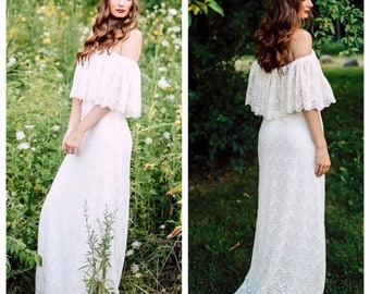 Boho Wedding Dress, Wedding Dress, Lace Wedding Dress, Ruffle Wedding Dress, Off Shoulder Wedding Dress, Scalloped Lace Dress, Crochet Lace