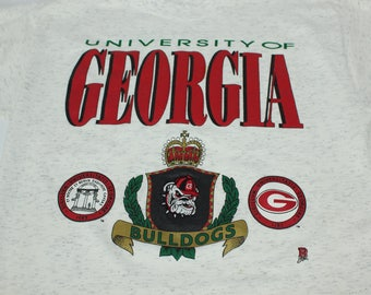 Vintage 90s RARE UGA University Of GA Georgia Bulldogs Embroidered M Medium ? Tshirt
