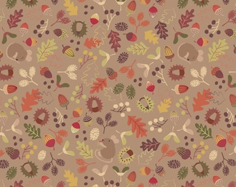Autumn in Bluebell Wood A248-2 Woodland Mouse Light Earth Lewis & Irene Patchwork Quilting Fabric