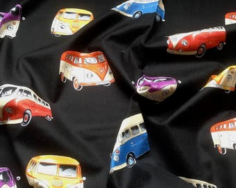 Patchwork Quilting Fabric Nutex VW Camper Van on Black