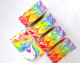 Rainbow Yuzu Swirls Body Soap with Colloidal Oatmeal, Cream, Tussah Silk Luxurious!