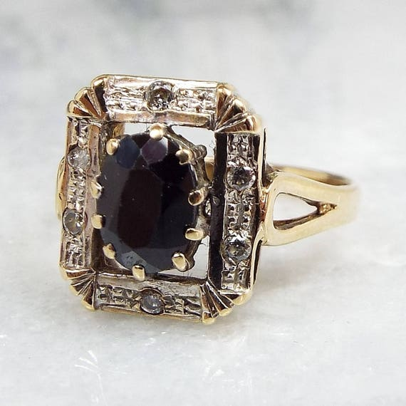 Vintage 1984 9ct Yellow Gold Art Deco Style Sapphire Diamond Cluster Ring / Size K