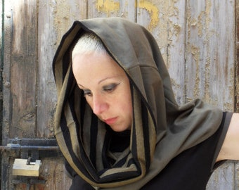 Hooded scarf,hooded cowl,hoody,women hoody,hooded cape,organic cotton ,organic fabric,cowl,scarf,organic scarf