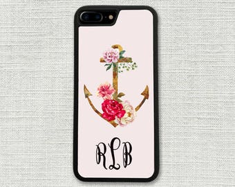 Floral Anchor iPhone 7 Case,  Floral iPhone 7 Plus Case, Flowers iPhone 6 Plus Case, Nautical iPhone 5 Case, Gift for Her, Gift For Mom 1300