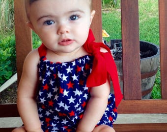 Red White and Blue Stars Romper