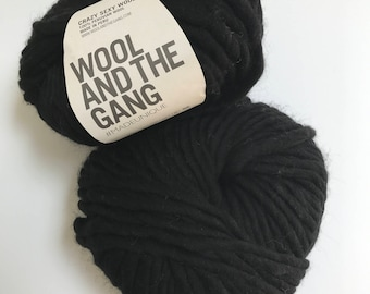 Wool and the Gang Crazy Sexy Wool Yarn in Space Black // 2 Skein Pack // Stash Sale