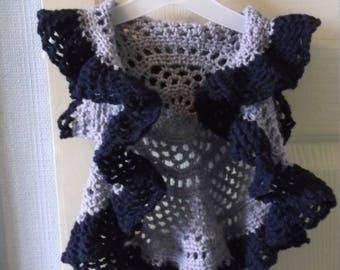 Hand crochet circular sleeveless cardigan/jacket, girls