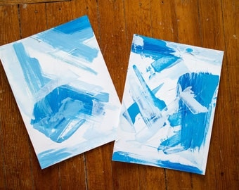 Original Set of Two Canvas Paper, Wall Art and Decor, 9x12, Shades of Blue