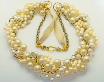 Upcycled vintage 'something old' braided pearl necklace. Bridal, wedding, bride, boho, quirky