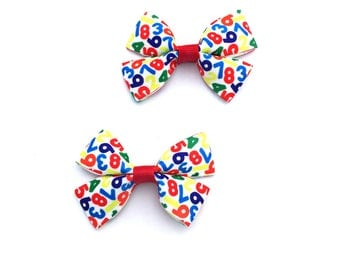 Back to School Bows, Back to School Clips, Preschool Bows, Preschool Hair Bows, Pre K Bows, Pre K Hair Bows, Pre K Hair Clips, PreK Bows