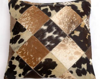 Natural Cowhide Luxurious Patchwork Hairon Cushion/pillow Cover (15''x 15'')a138