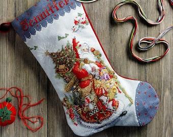 "Bucilla Olde World Santa 18"" Christmas Stocking Counted Cross Stitch Kit #86660"