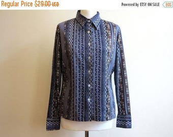ON SALE Dark Blue Blouse Navy Chain Anchor Print Jersey Blouse Long Sleeves Womens Shirt Large Size