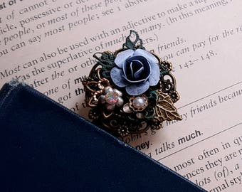 Rustic bookmark Boho bookmark Jewelry assemblage bookmark Metal bookclip Patina flower