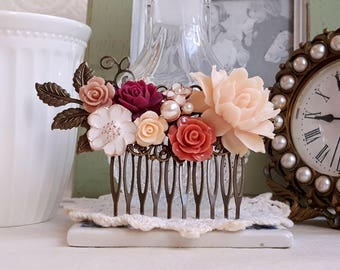 Soft apricot rose burgundy peach flower Bridal hair comb Flower comb cottage chic decorative comb