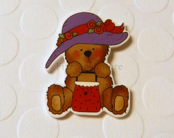 Red Hat Ladies Teddy Pin Handcrafted Brooch Flair Lapel Pin Tie Tack Hat Pin