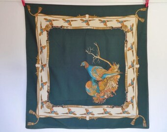 "Vintage Lisa Canali  Pheasants Country scarf 76cm x 76cm / 29.9"" x 29.9"""