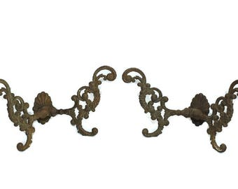 Victorian Cast Iron Hooks Pair Ornate Wall Tree Antique Hooks