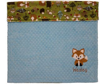 Personalized Baby Blanket, Fox Baby Blanket, Custom Minky Baby Blanket, Fox Nursey, Woodland Baby Blanket