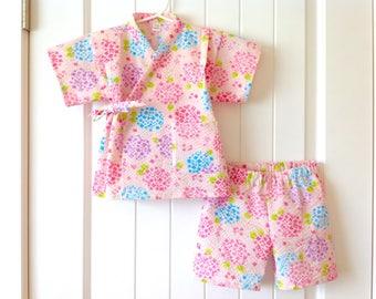 2-Piece Toddler Jinbei Kimono and Headband, Japanese Ripple Fabric, Hydrangea, Pink