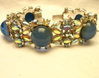 Gorgeous Rare Mazer Blue Moonstone AB Bracelet and Matching Clip Earrings