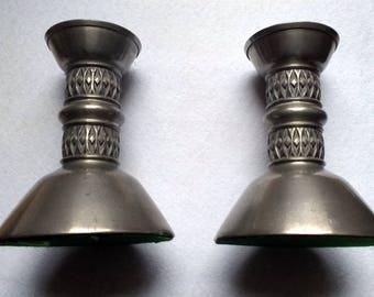 Norwegian Pewter Candlesticks Pair Scandinavian Modern Vintage Mastad Design 102