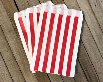 Red Paper Favor Bags - Pack of 48 - Striped Party Bags - Medium Treat Sack - Christmas Party Decor - Holiday Goodie Bag