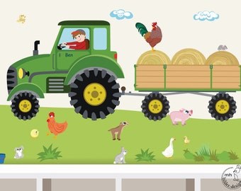 "Wall Decal ""Tractor trailer MAXI"" nursery Baby Room Wall Stickers Wall Decals farmer farm"
