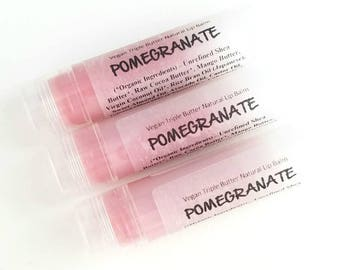 Pomegranate Natural Lip Balm. 100% Vegan
