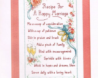 CROSS STITCH PATTERN - Wedding Sampler Counted Cross Stitch - Recipe For A Happy Marriage Cross Stitch Pattern