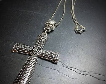 Large Silver Cross Pendant, Mens Necklace, Skull & Cross Necklace, Gothic Crucifix, Large Cross, Cross Pendant, Skull Jewelry, Gothic Gifts