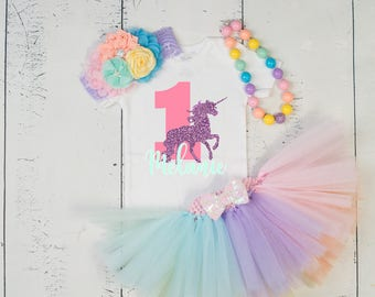 UNICORN FIRST BIRTHDAY Outfit Girl,Unicorn 1st Birthday,Unicorn Tutu,Mint Purple Pink First Birthday,Unicorn Birthday Set,Baby Girl Birthday