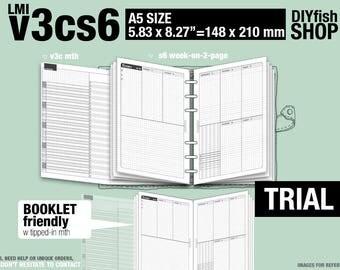 Trial [A5 v3cs6 w/o daily] November to December 2017 - Filofax Inserts Refills Printable Binder Planner Midori.