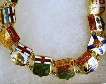 Vintage 1960's Canadian Provinces 18kt Gold Plated Enamel Shield Patriotic Link Bracelet