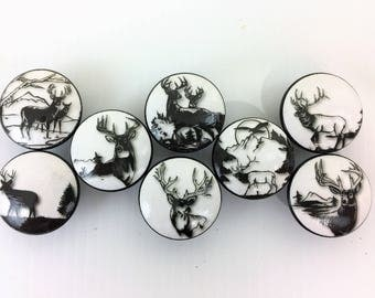 Set of 8 Black and White Deer Silhouette Cabinet Knobs