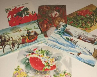 Vintage 1970's CHRISTMAS Cards UNUSED 70's Holiday Stationery Seasons Greetings Cards, Greeting Cards Set of 6 Old Fashioned Horses Sleigh