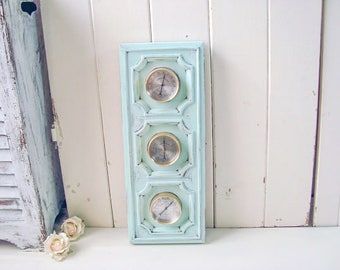 Aqua Vintage Weather Barometer, Shabby Chic Weather Station, Humidity  Meter, Beach Chic Aqua