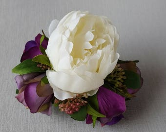 Floral Hair Comb, White Peony and Purple Rosebuds Hair Decoration, Silk Flower Hair Comb