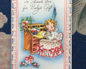 Vintage Babys Gift THANK YOU Cards from the 40's 50's