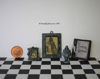 Dollhouse Miniature Victorian Memento Mori Post Mortem Photography Frames and Album, Urn, Spooky Gothic Haunted House in 1:12 scale