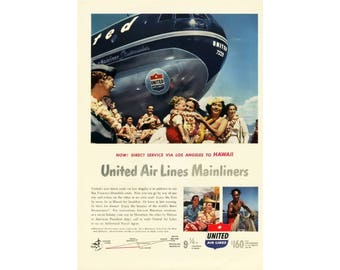 1950 Ad Print - United Airlines Mainliner Stratocruiser Hawaii Travel