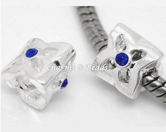 1 silver and blue rhinestone flower charm bead compatible pandor @ chamili @.