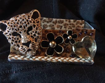 Womens Cheetah business card holder, display stand