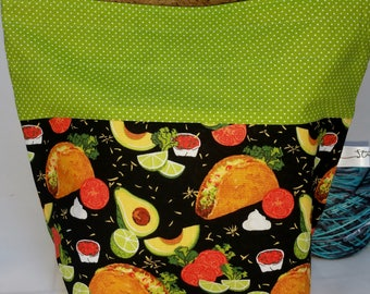 Drawstring Project Bag, Taco Tuesday, Mexican Dinner Inspired, Guacamole, Salsa, Avocado, Medium Size Sock to Shawl Wedge Tote Bag