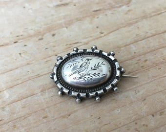 Antique Victorian Silver Aesthetic Period Scatter Lace Pin Brooch Engraved Bird