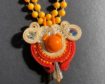 Soutache pendant necklace with matching earrings