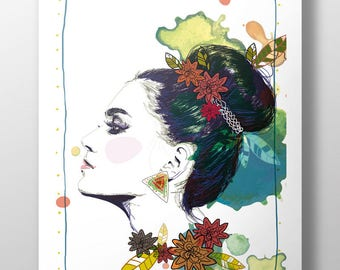 Ethnic chic - decoration - Illustration - A3 poster poster frame