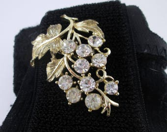 Vintage Coro Brooch Pin Gold Tone Leaves and Rhinestones Signed